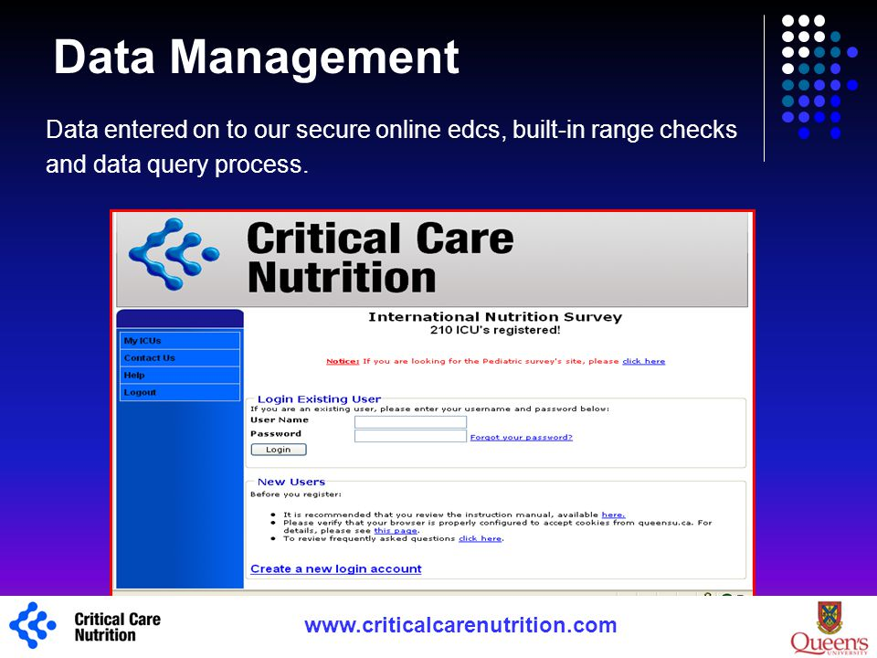 Data Management Data entered on to our secure online edcs, built-in range checks. and data query process.