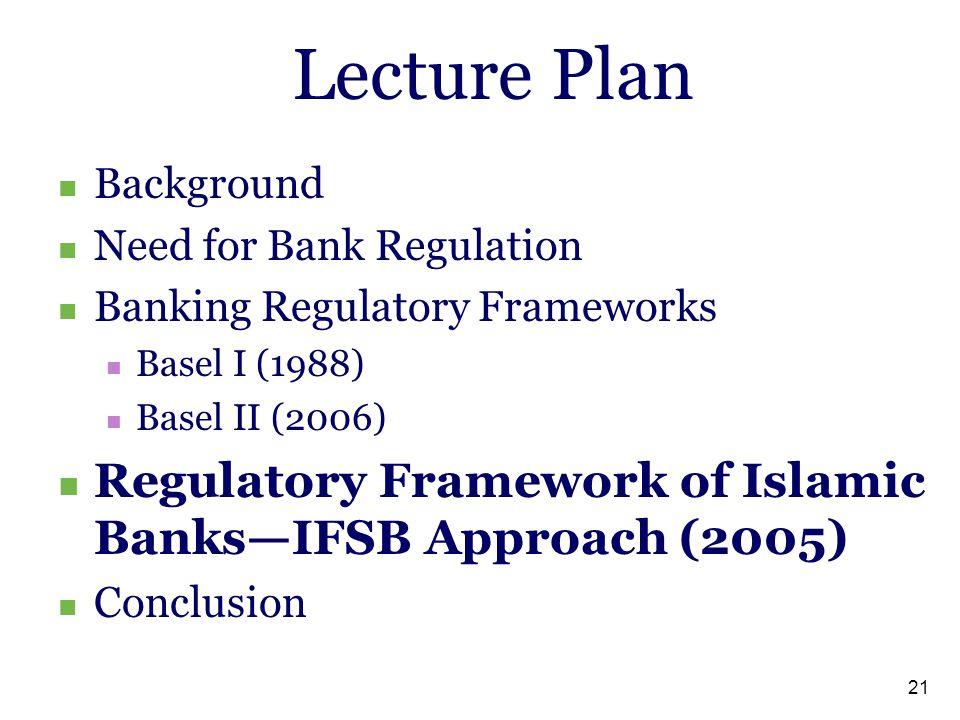 Lecture Plan Background. Need for Bank Regulation. Banking Regulatory Frameworks. Basel I (1988)