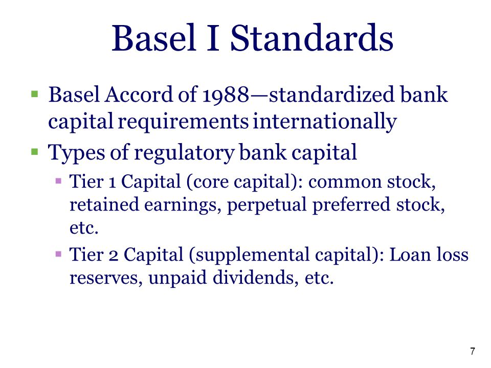 Basel I Standards Basel Accord of 1988—standardized bank capital requirements internationally. Types of regulatory bank capital.