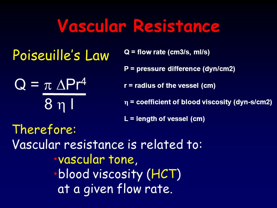 Vascular Resistance Q = p DPr4 8 h l Poiseuille's Law Therefore: