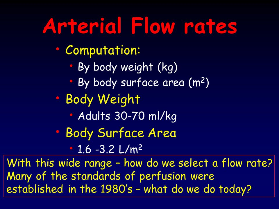 Arterial Flow rates Computation: Body Weight Body Surface Area