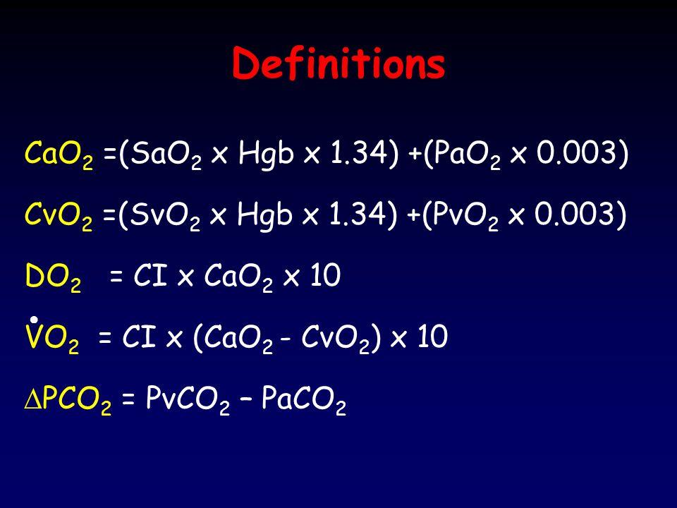 Definitions CaO2 =(SaO2 x Hgb x 1.34) +(PaO2 x 0.003)