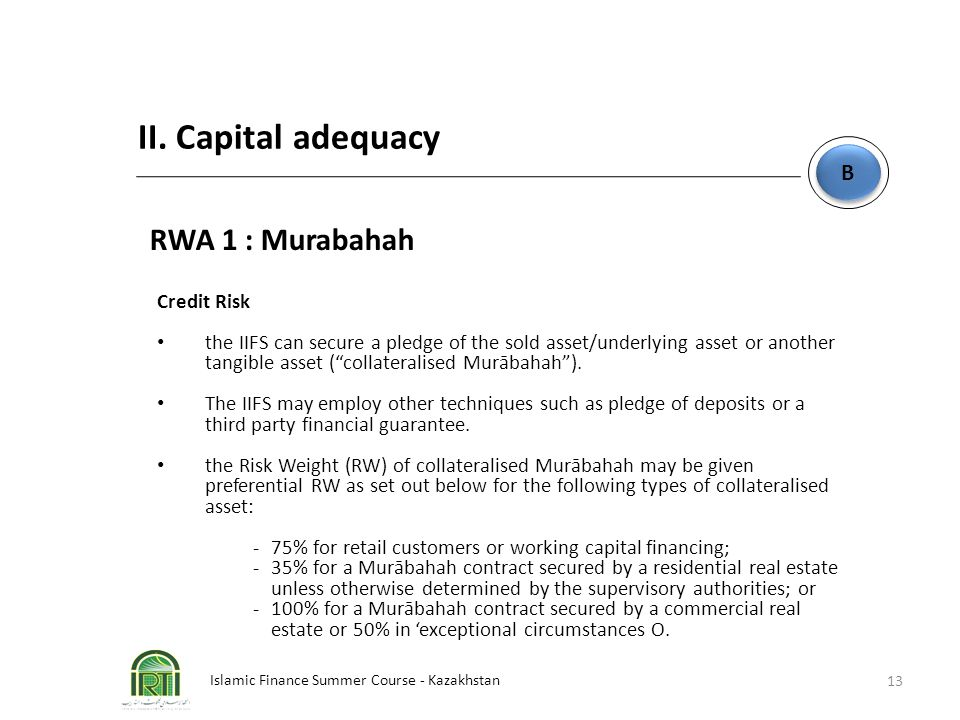 II. Capital adequacy RWA 1 : Murabahah B Credit Risk