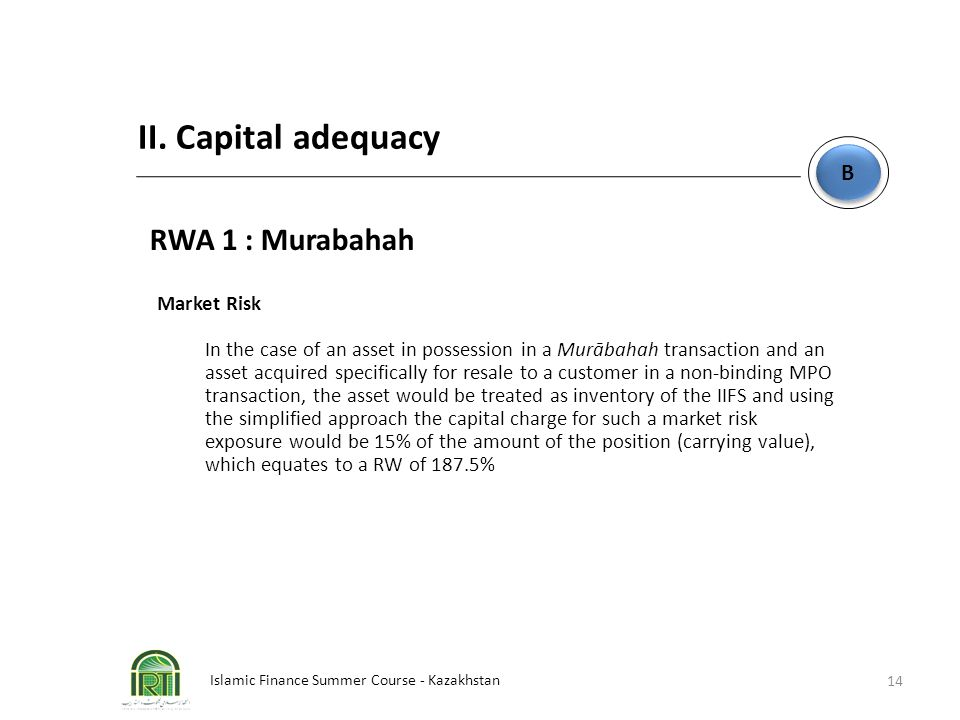 II. Capital adequacy RWA 1 : Murabahah B Market Risk