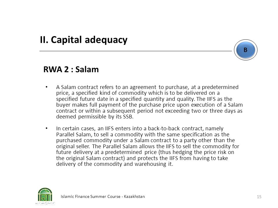 II. Capital adequacy RWA 2 : Salam B