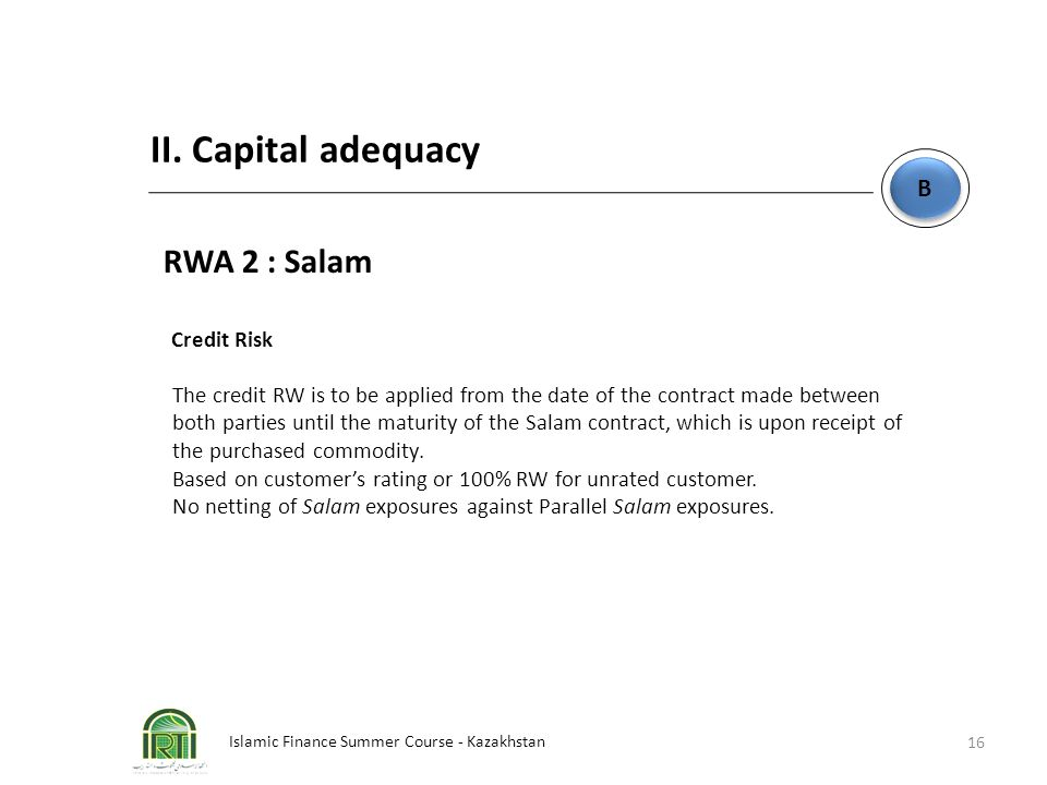 II. Capital adequacy RWA 2 : Salam B Credit Risk