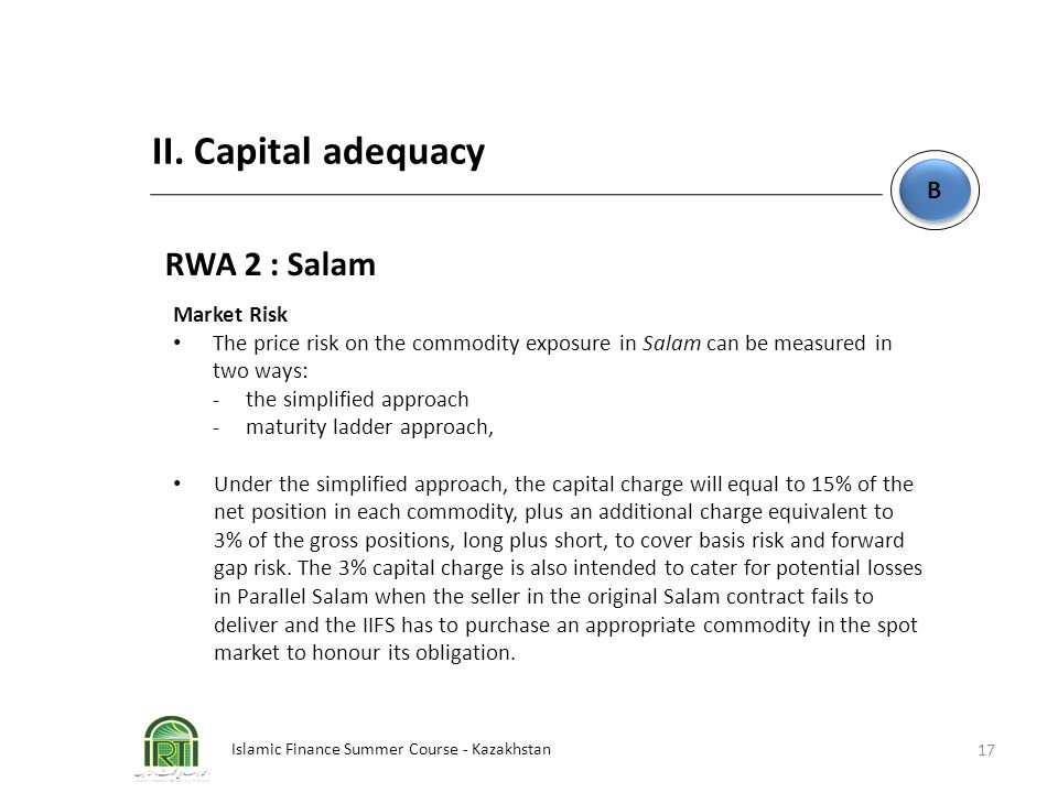 II. Capital adequacy RWA 2 : Salam B Market Risk