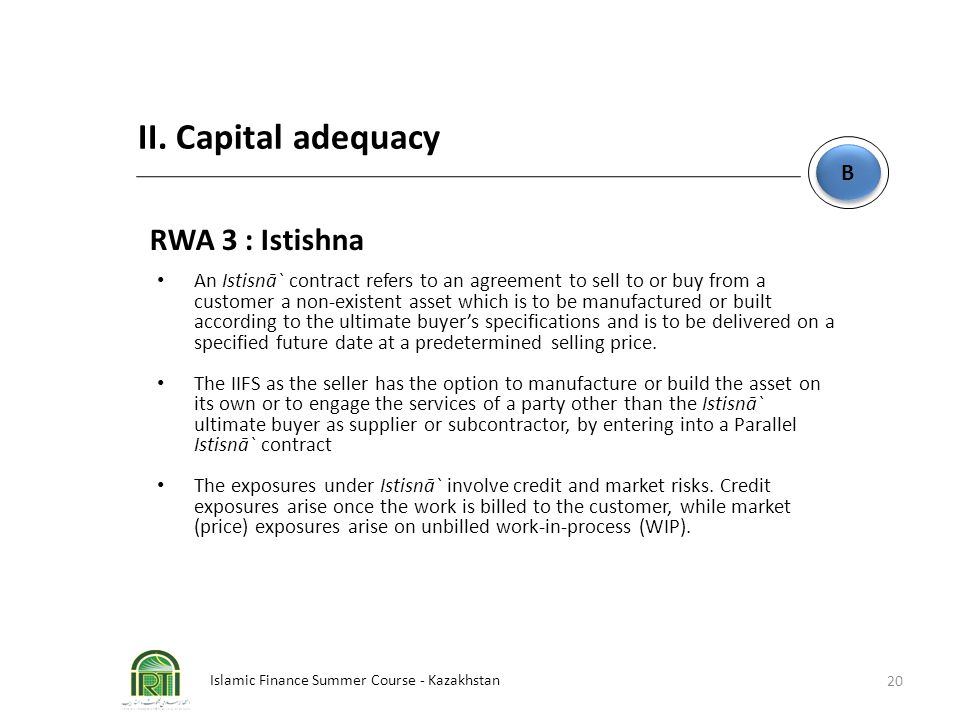 II. Capital adequacy RWA 3 : Istishna B