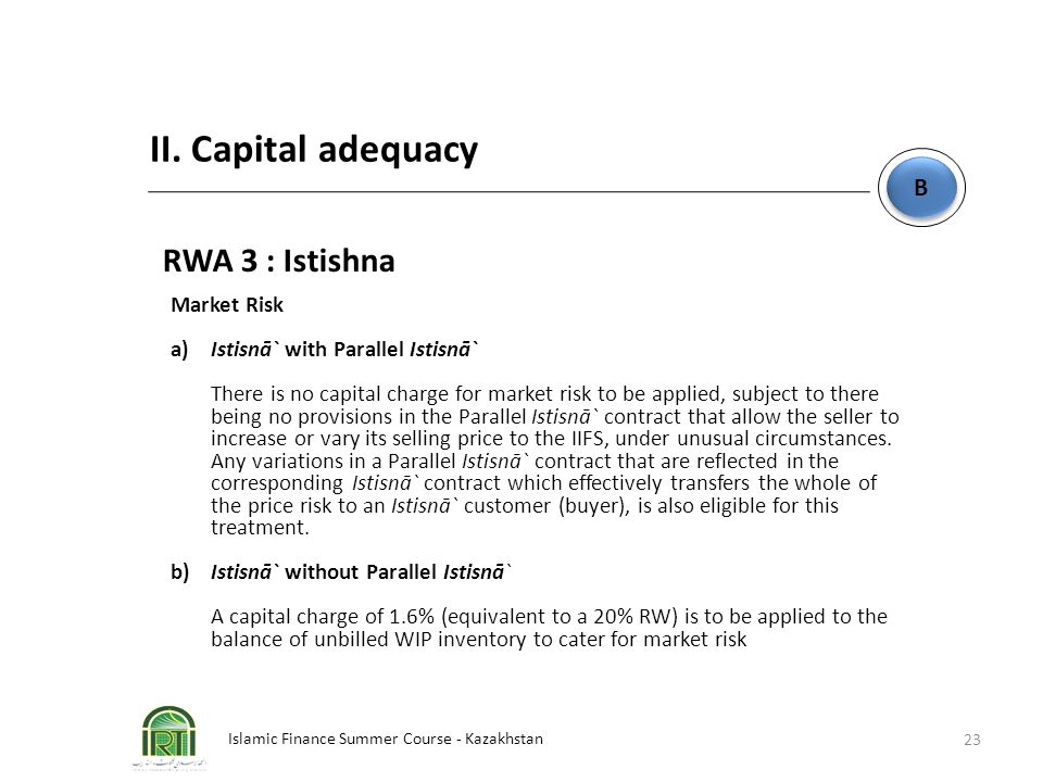 II. Capital adequacy RWA 3 : Istishna B Market Risk
