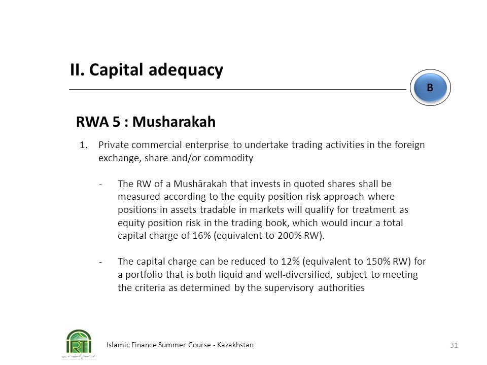 II. Capital adequacy RWA 5 : Musharakah B