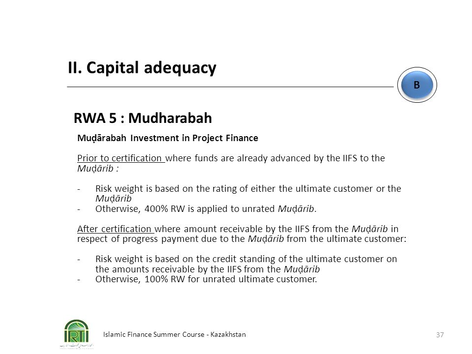 II. Capital adequacy RWA 5 : Mudharabah B
