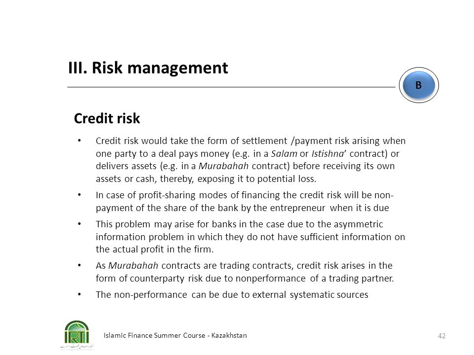 III. Risk management Credit risk B