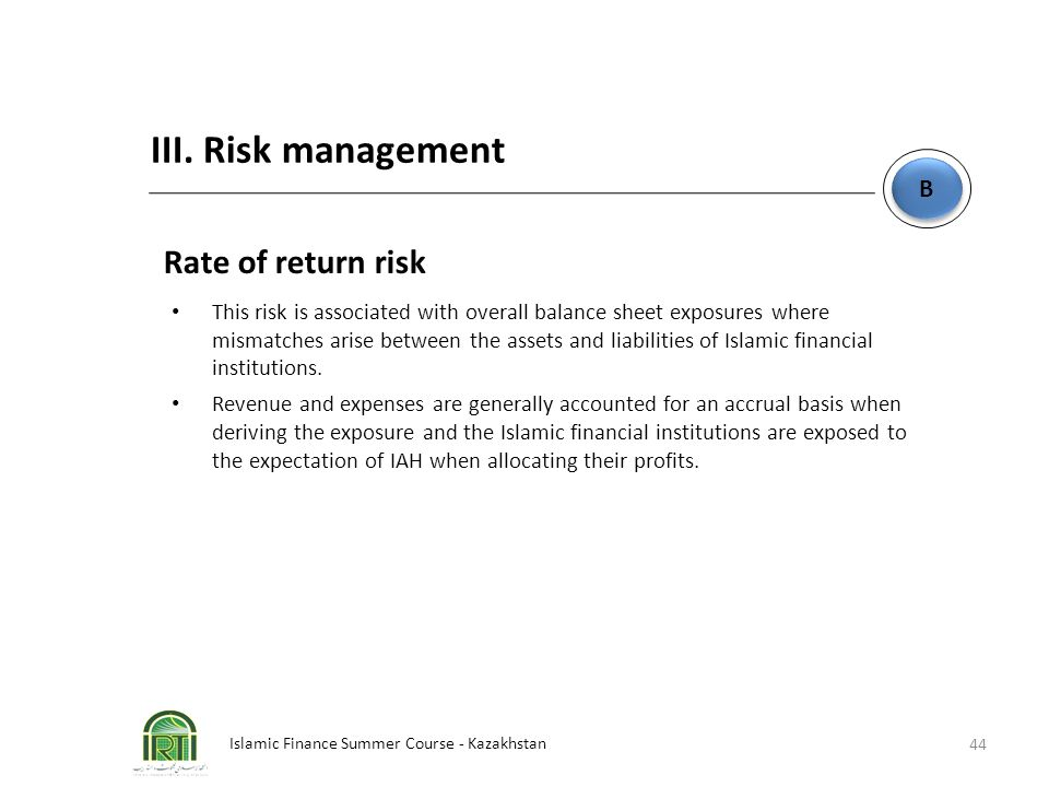 III. Risk management Rate of return risk B
