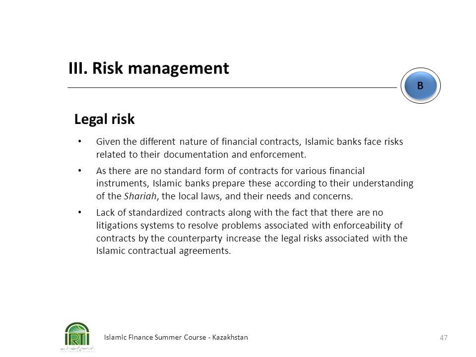 III. Risk management Legal risk B
