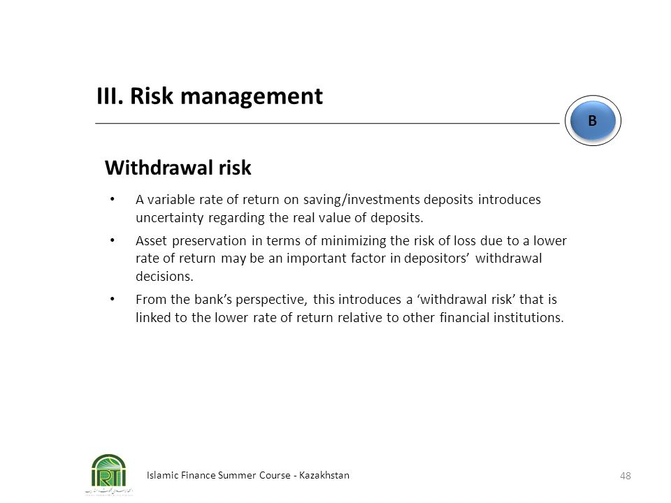 III. Risk management Withdrawal risk B
