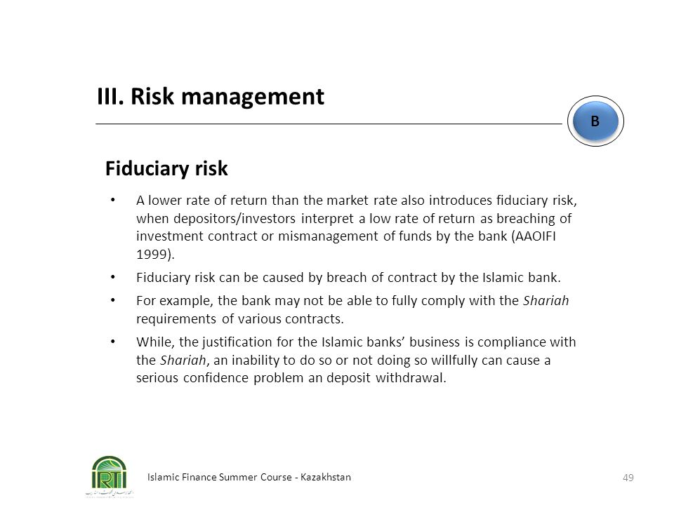 III. Risk management Fiduciary risk B