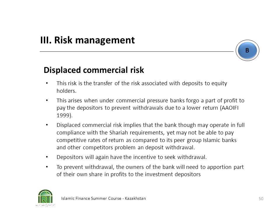 III. Risk management Displaced commercial risk B