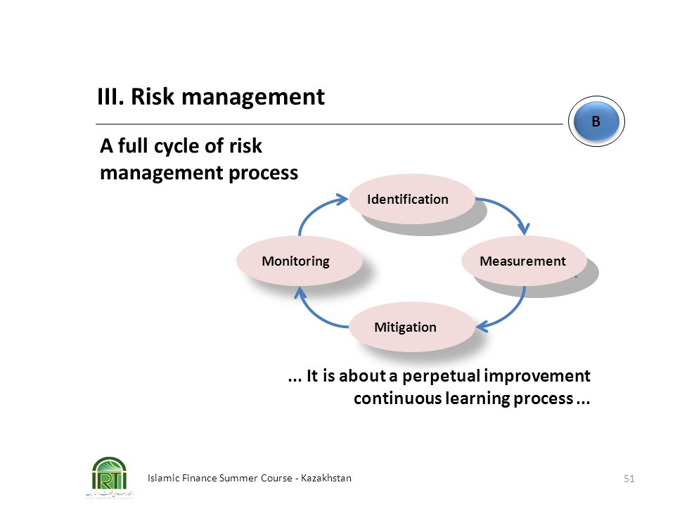 III. Risk management A full cycle of risk management process