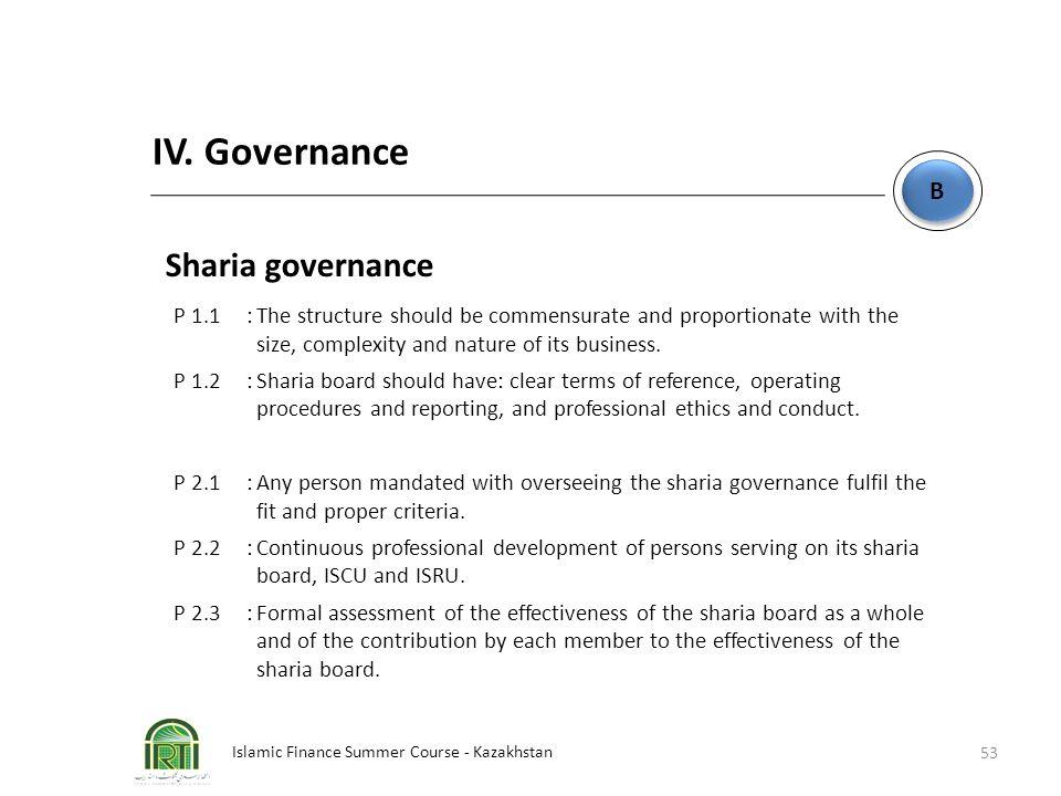 IV. Governance Sharia governance B