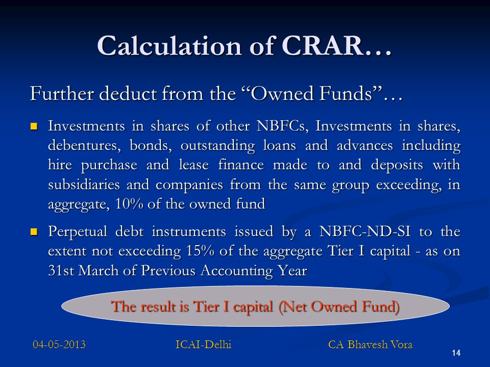 Calculation of CRAR… Further deduct from the Owned Funds …
