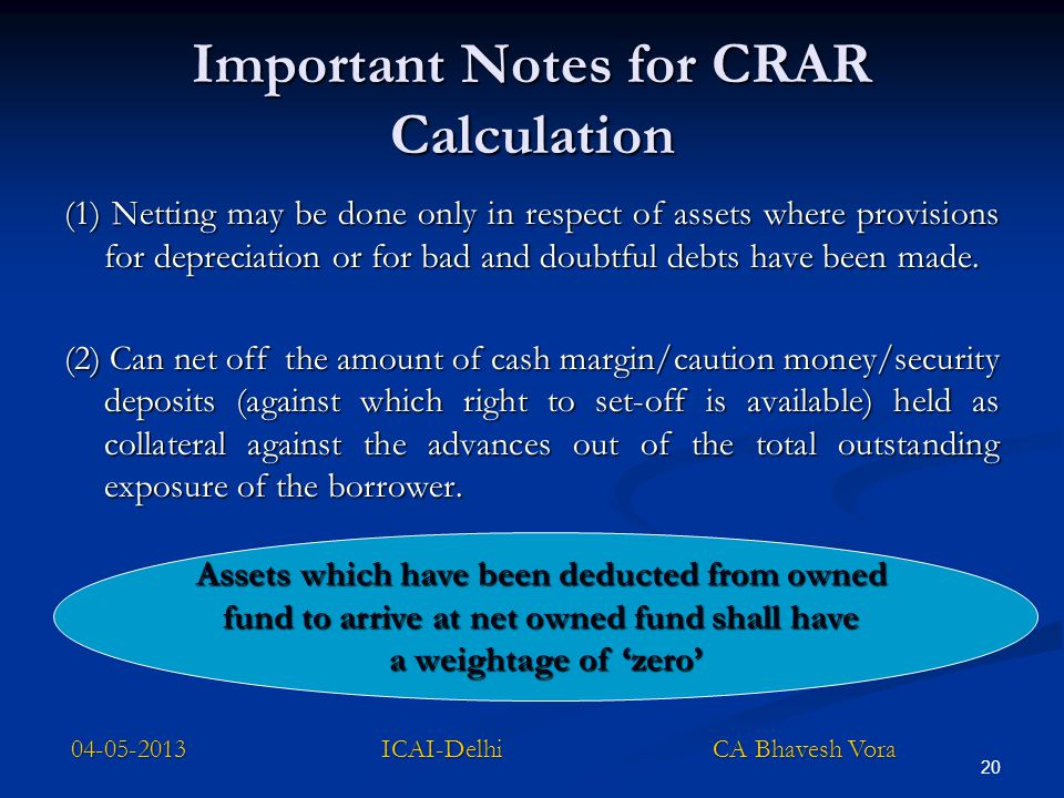 Important Notes for CRAR Calculation