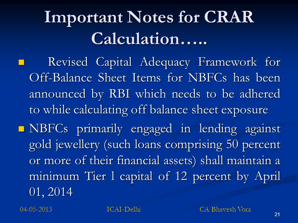 Important Notes for CRAR Calculation…..