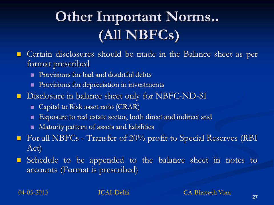 Other Important Norms.. (All NBFCs)