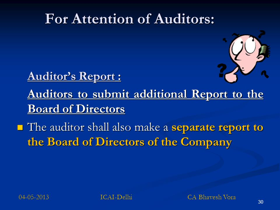 For Attention of Auditors: