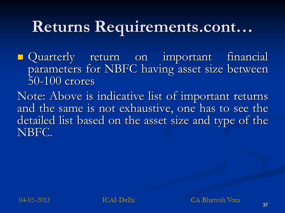 Returns Requirements.cont…