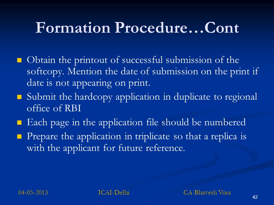 Formation Procedure…Cont