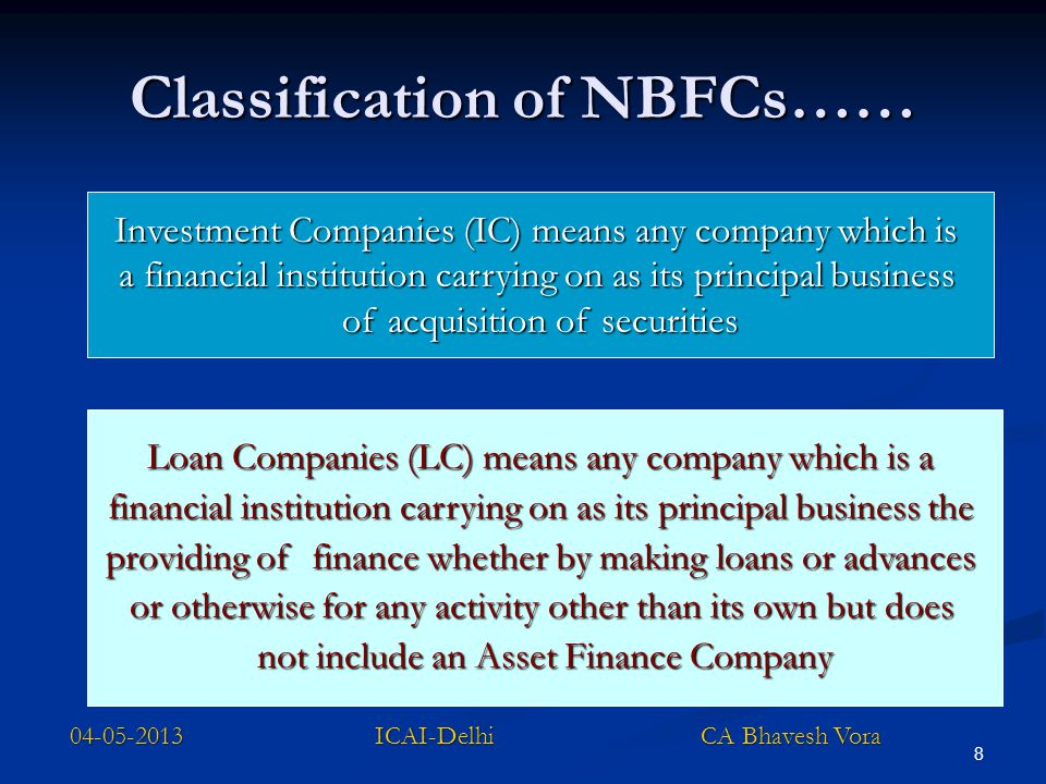 Classification of NBFCs……