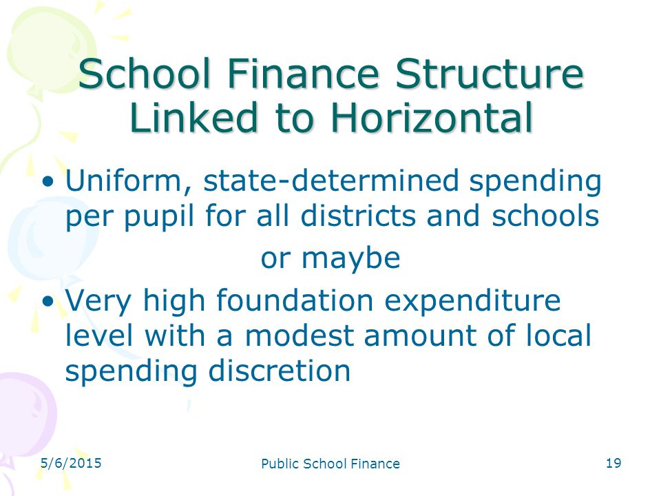 School Finance Structure Linked to Horizontal