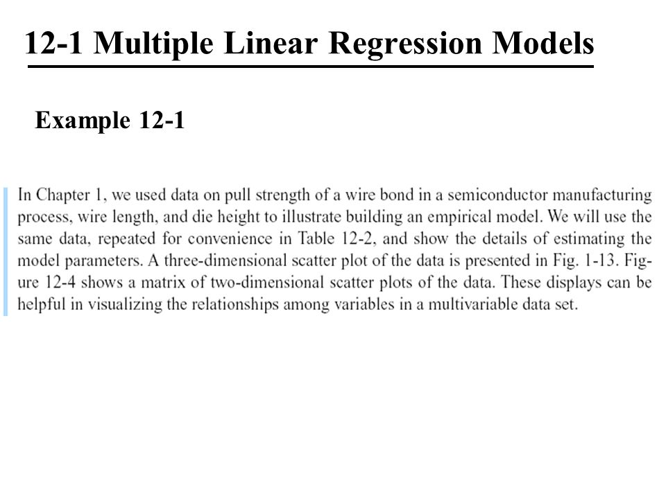 12-1 Multiple Linear Regression Models