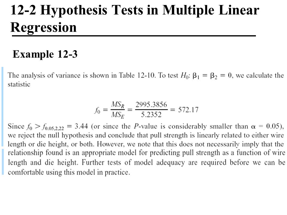 12-2 Hypothesis Tests in Multiple Linear Regression