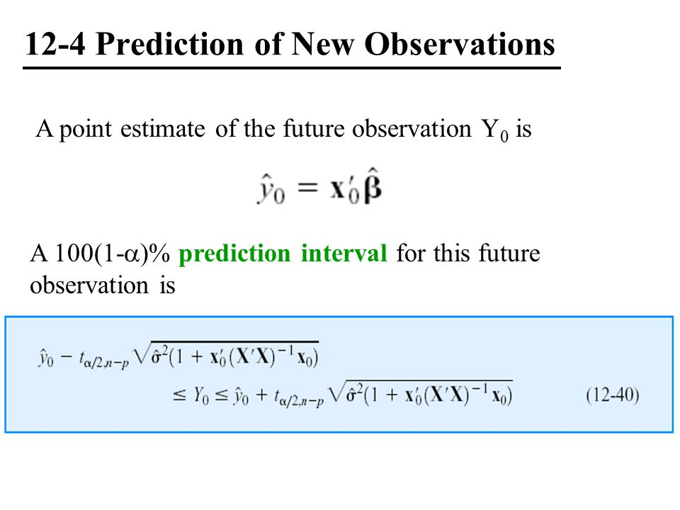 12-4 Prediction of New Observations
