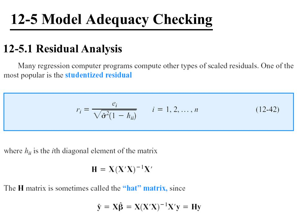 12-5 Model Adequacy Checking
