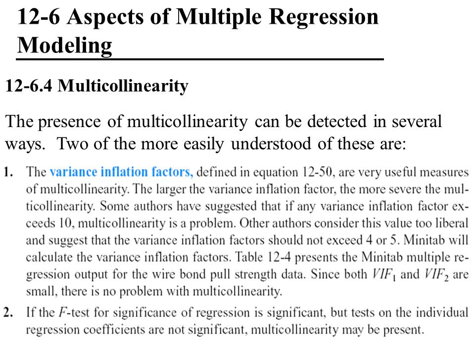 12-6 Aspects of Multiple Regression Modeling