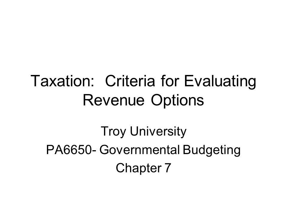 Taxation: Criteria for Evaluating Revenue Options