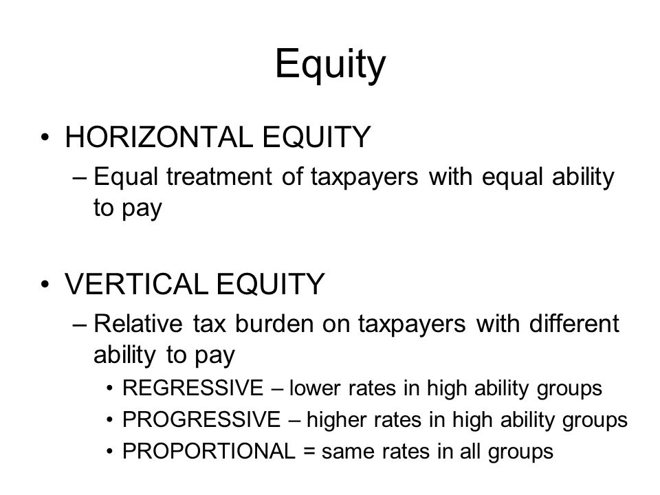 Equity HORIZONTAL EQUITY VERTICAL EQUITY