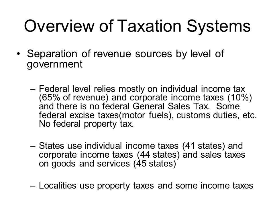 Overview of Taxation Systems