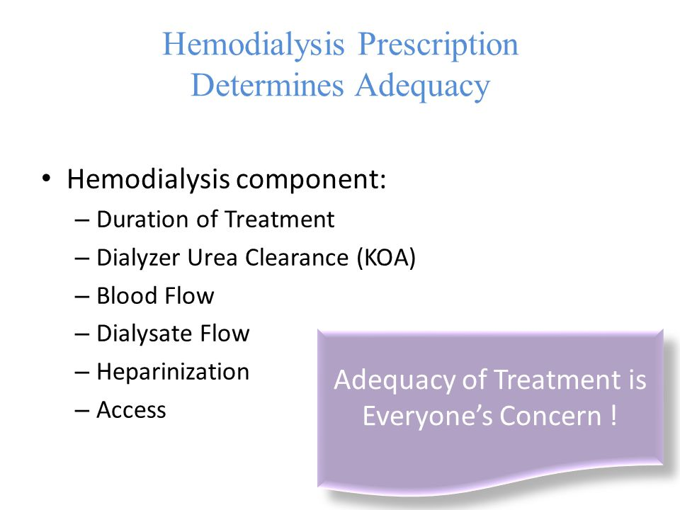 Hemodialysis Prescription Determines Adequacy