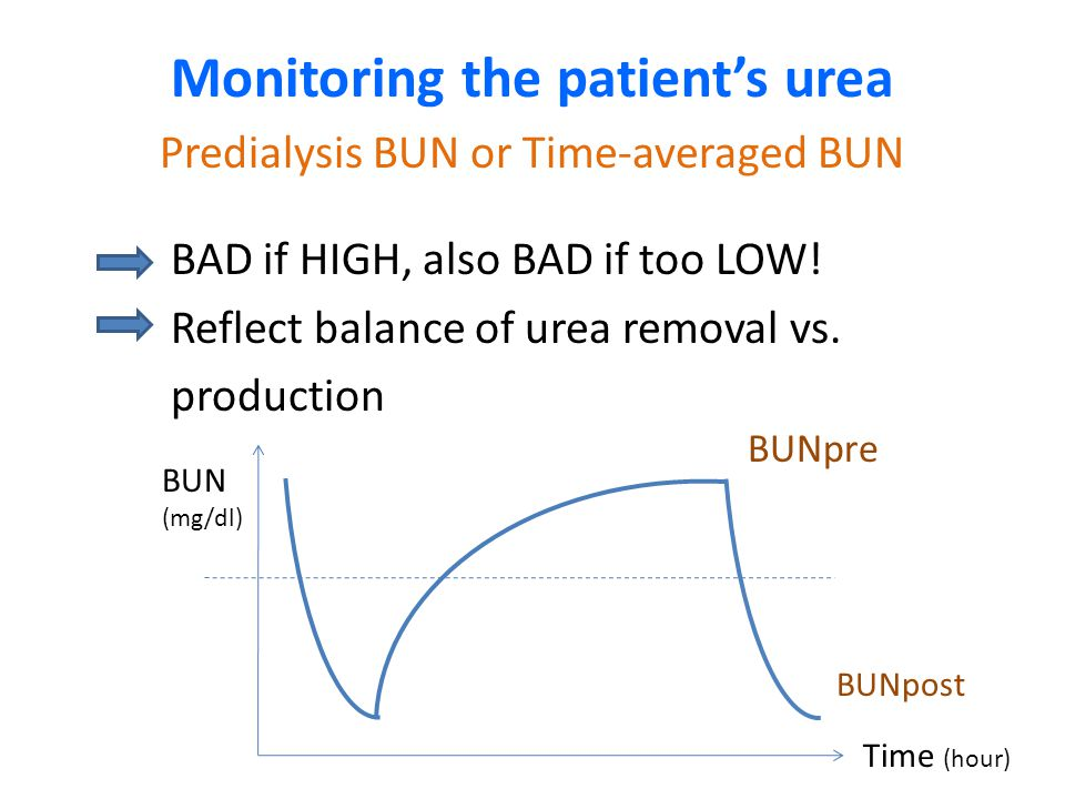 Monitoring the patient's urea