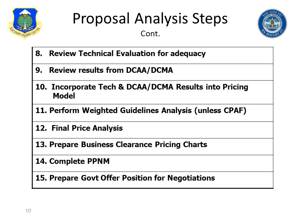 Proposal Analysis Steps Cont.