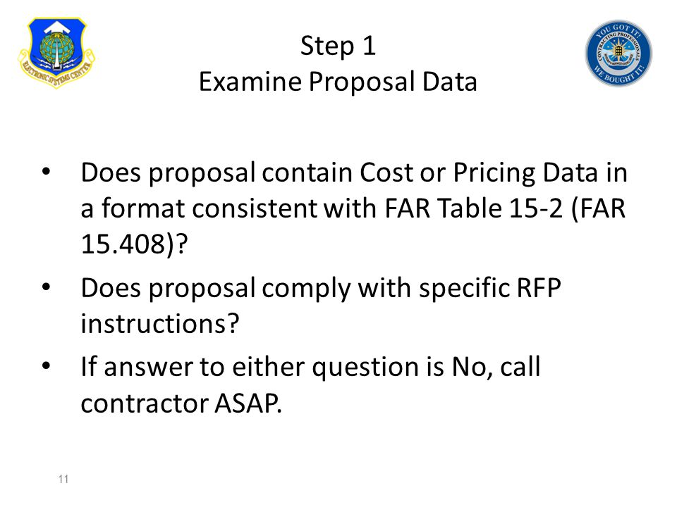 Step 1 Examine Proposal Data