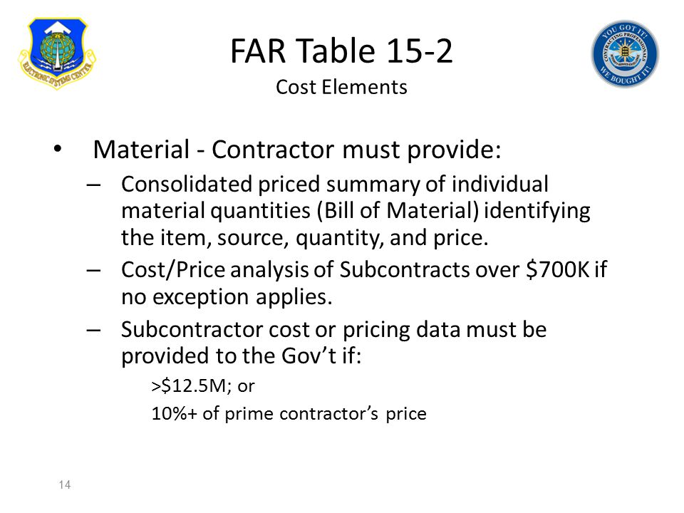 FAR Table 15-2 Cost Elements