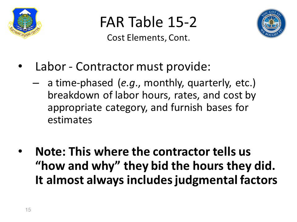 FAR Table 15-2 Cost Elements, Cont.