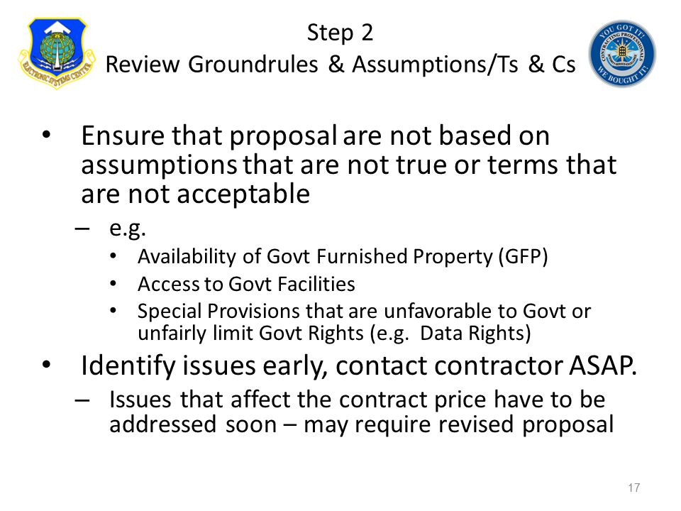 Step 2 Review Groundrules & Assumptions/Ts & Cs