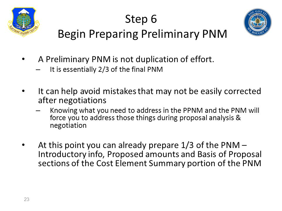 Step 6 Begin Preparing Preliminary PNM