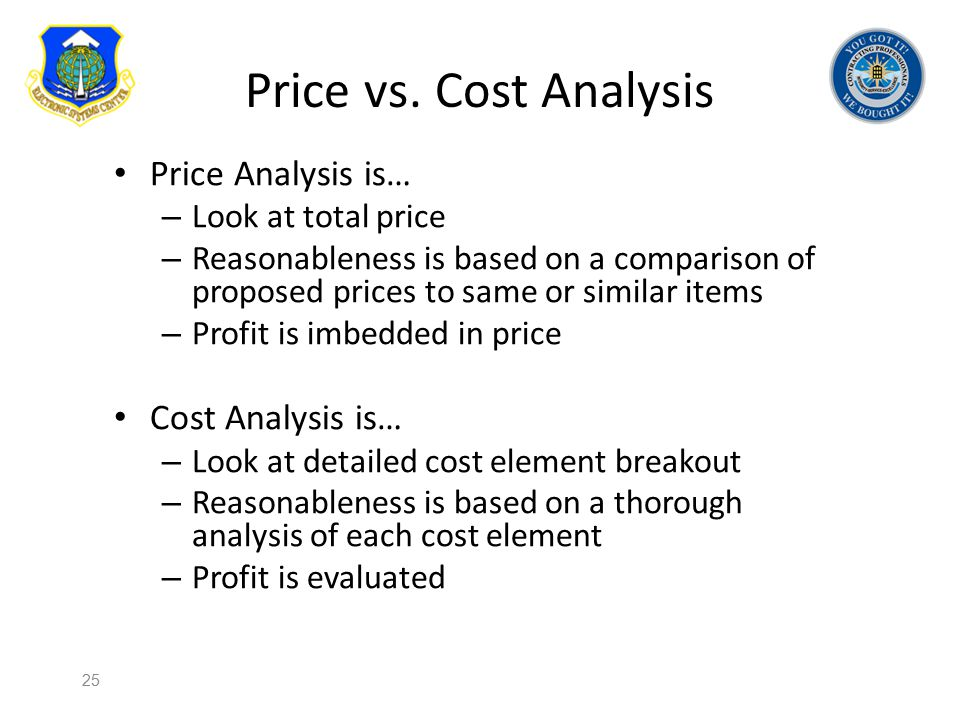Price vs. Cost Analysis Price Analysis is… Cost Analysis is…