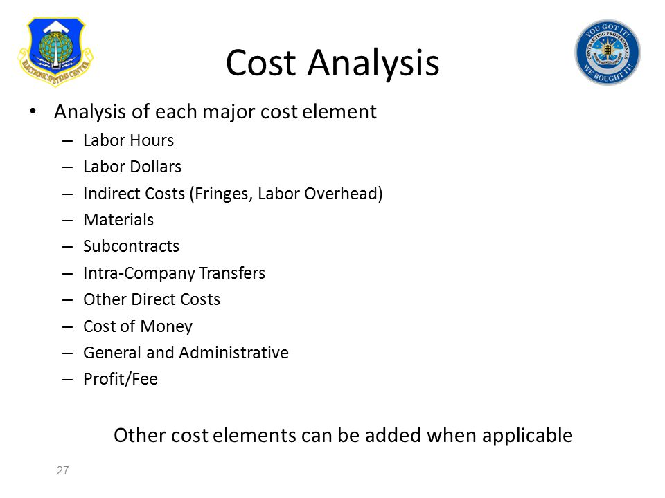 Other cost elements can be added when applicable